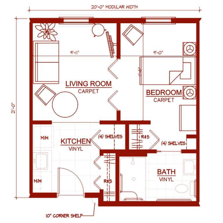 "One Bedroom ""Chestnut"" Unit 433 square feet"