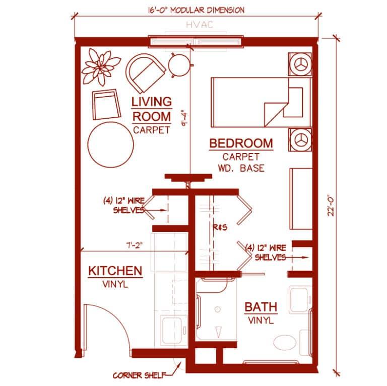 "One Bedroom ""Magnolia"" Unit 346 square feet"